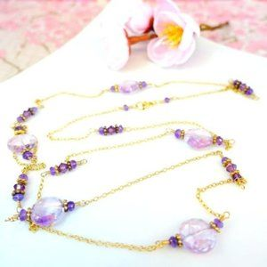 Pink amethyst coin long opera length necklace